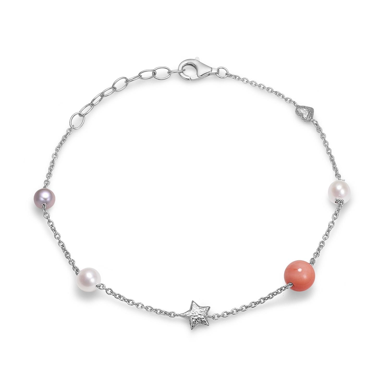 Image of   Blossom sølv armbånd med perler og koral