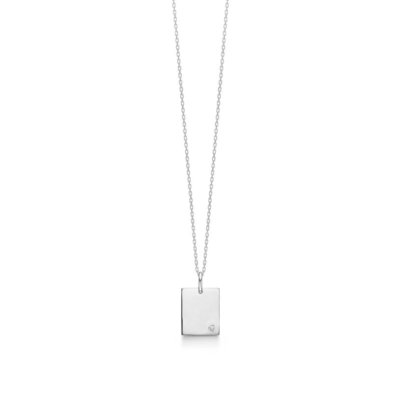 """Mads Z """"TAG"""" halskæde i sølv med brillant 0,008ct W"""
