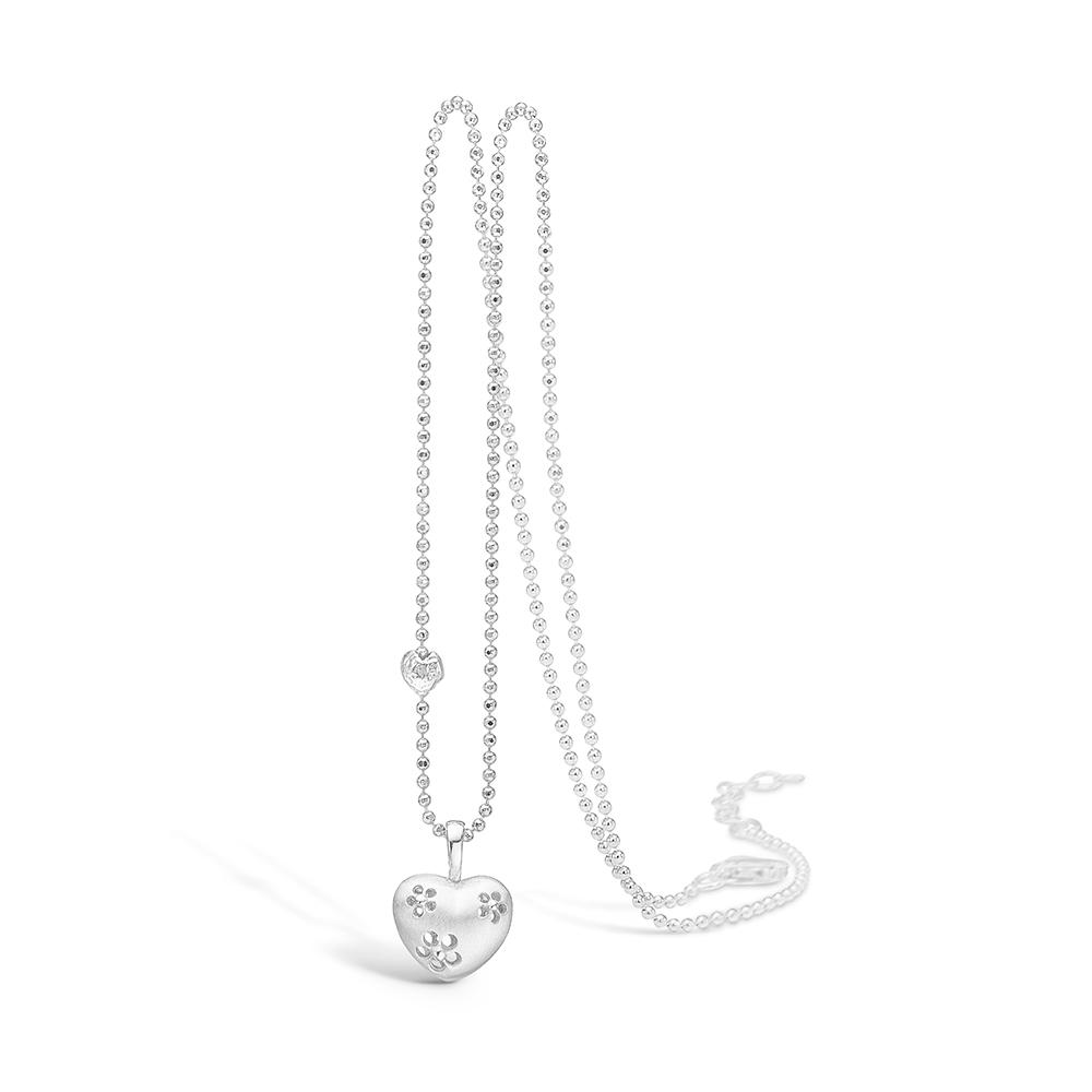 Image of   Blossom sølv vedhæng rhod. hjerte 42+3 cm