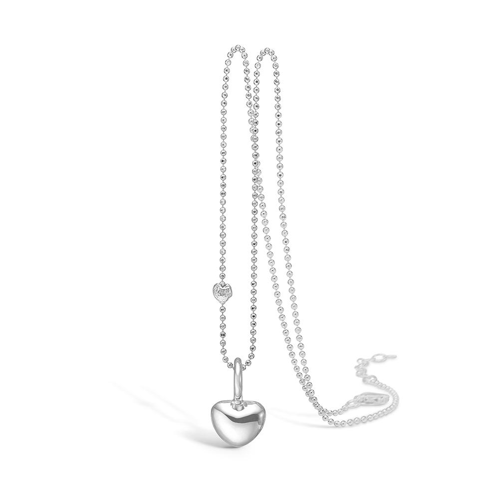 Image of   Blossom sølv vedhæng rhod. blank hjerte 42+3 cm