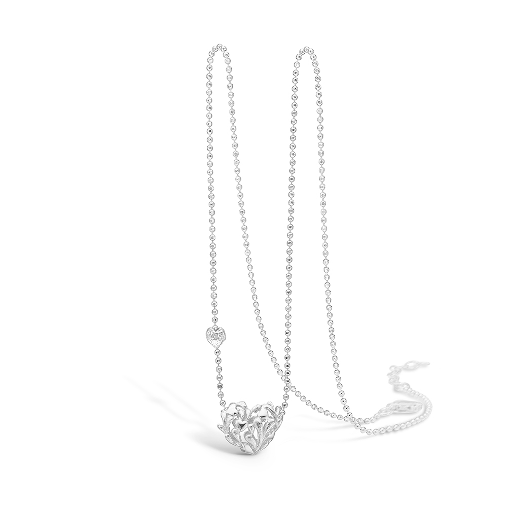 Blossom sølv halskæde rhod. hjerte mat/blank, 42+3 cm