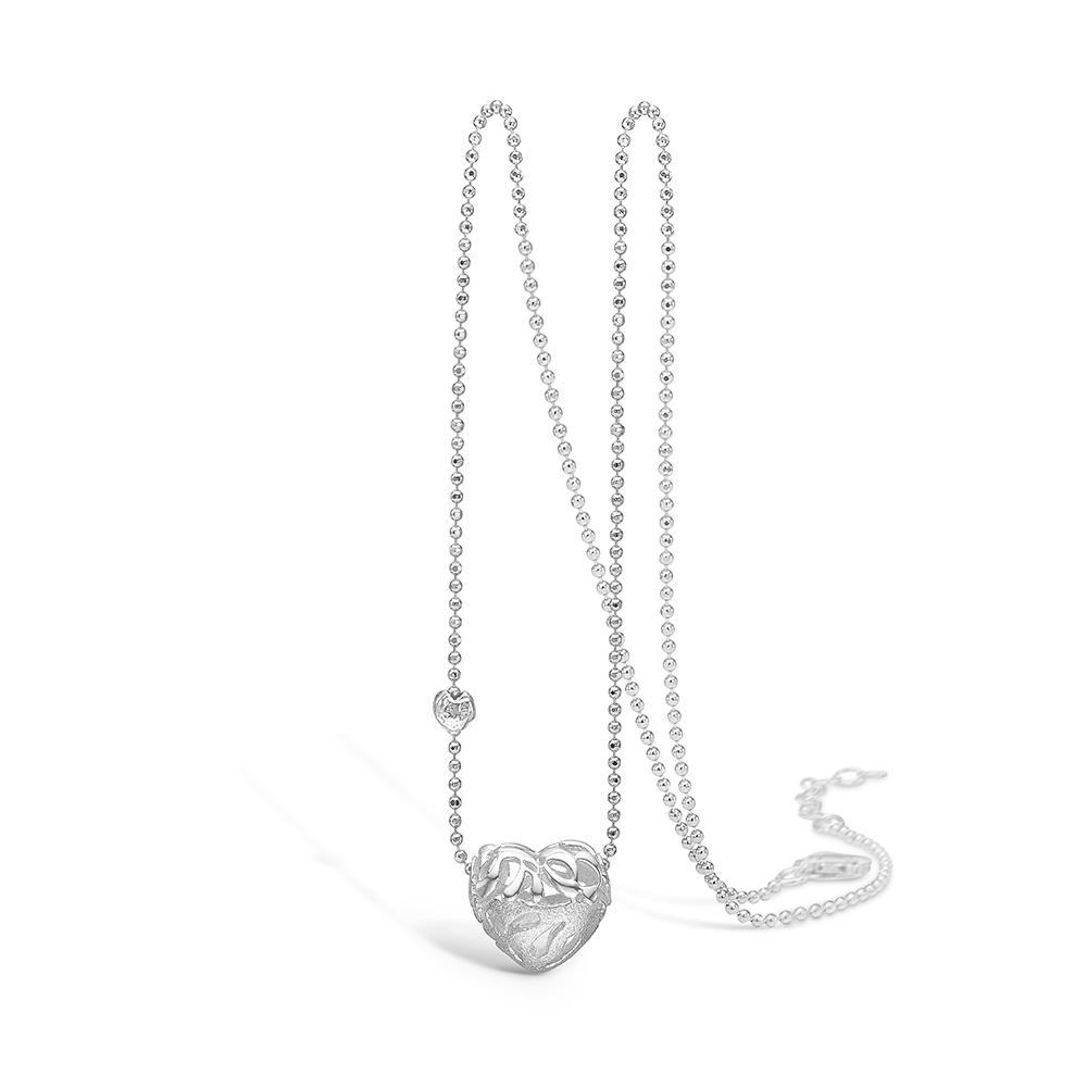 Blossom sølv halskæde rhod. hjerte, 42+3 cm