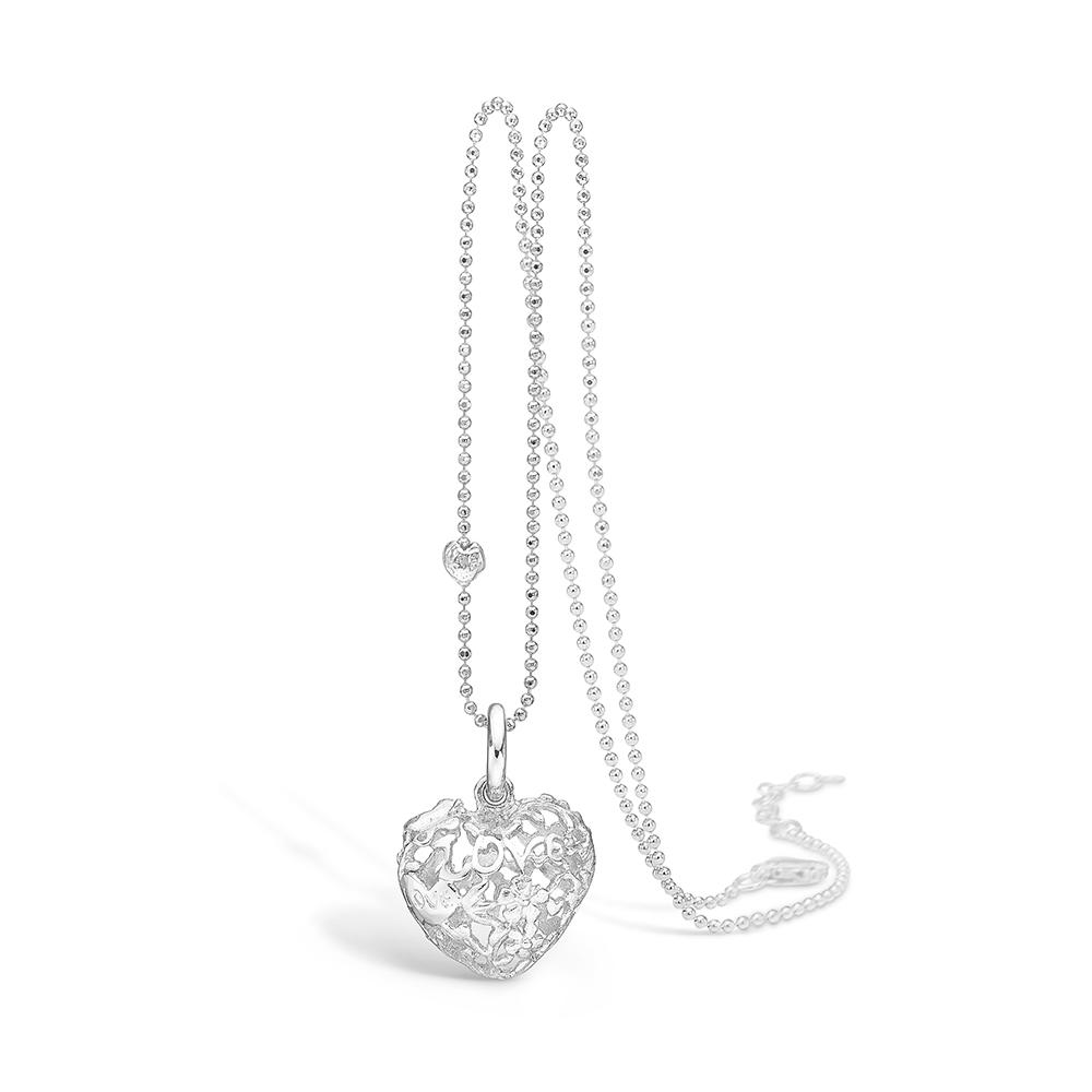 Image of   Blossom sølv vedhæng rhod. hjerte mat/blank 80 cm