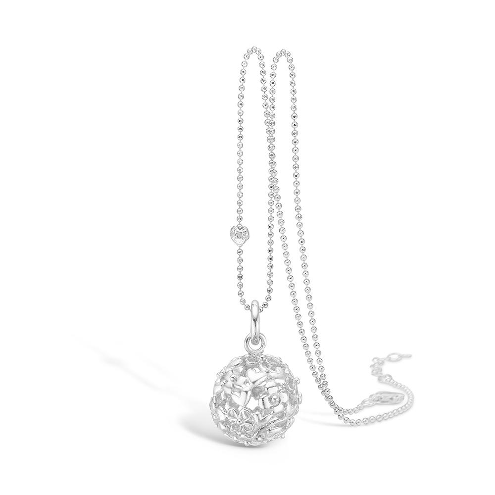 Image of   Blossom sølv vedhæng rhod. kugle hjerter og blomster 80 cm