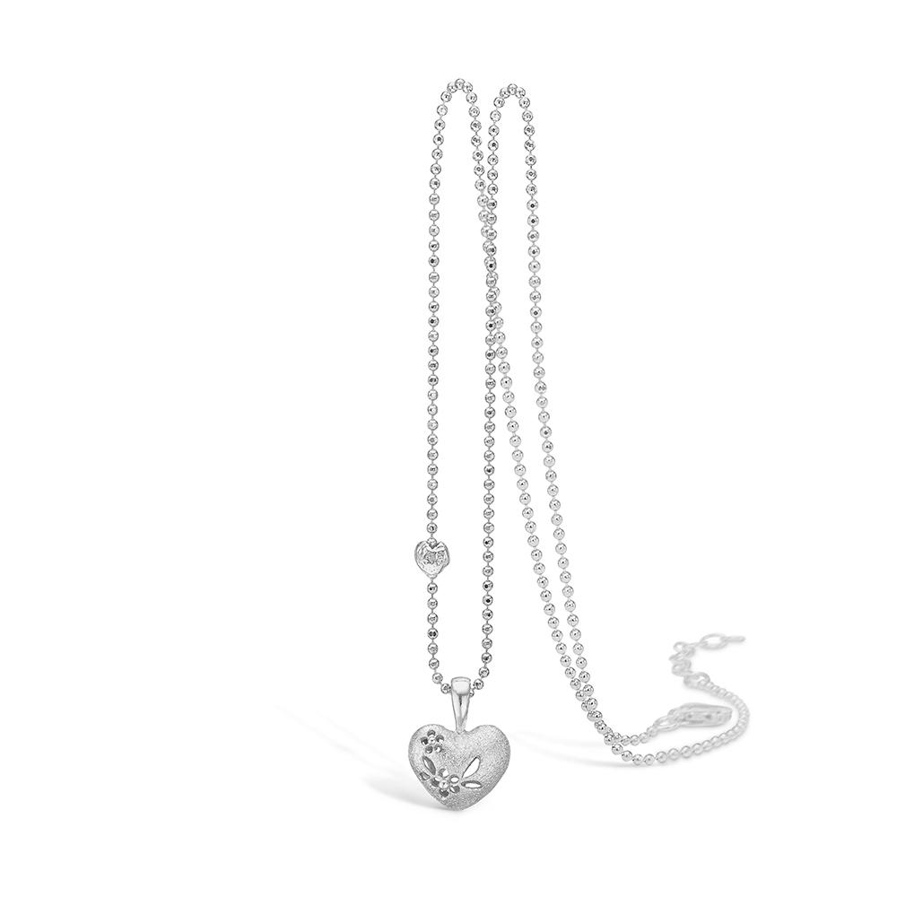 Image of   Blossom sølv vedhæng rhod. hjerte mat blomster 42+3 cm