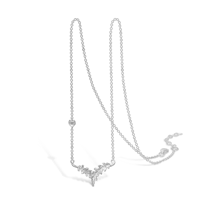 Image of   BLOSSOM sølv halskæde med blad vedhæng, 45 cm