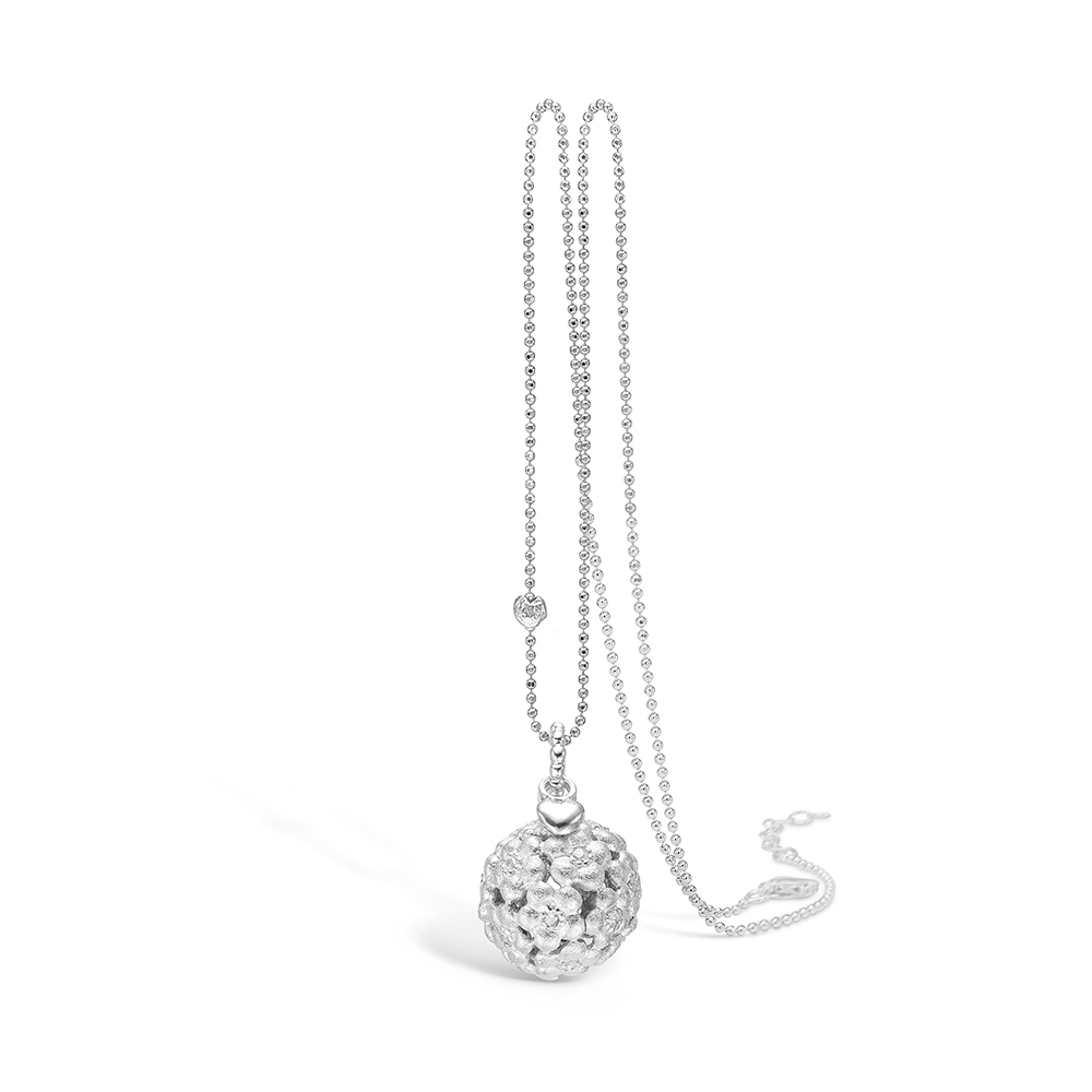 Image of   Blossom sølv vedhæng rhod. blank mat blomster CZ 80 cm