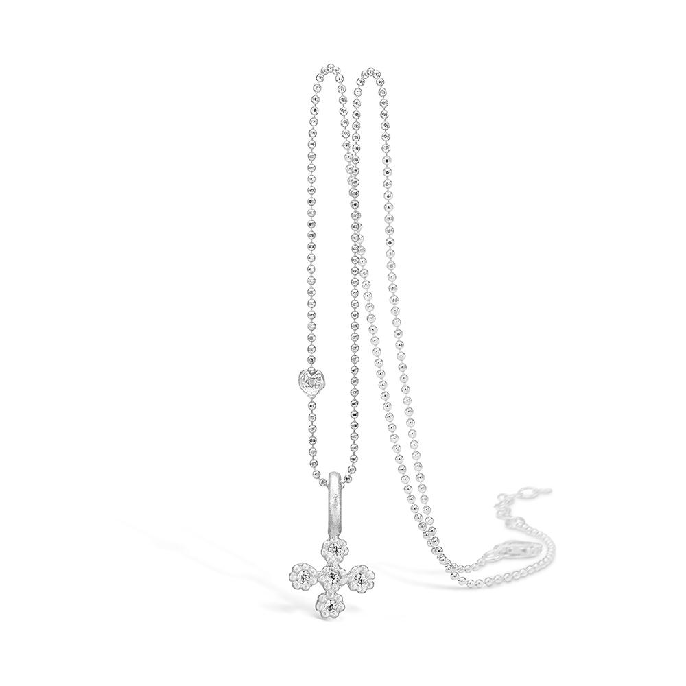 Image of   Blossom sølv kors vedhæng rhod. mat med cz, 42+3cm