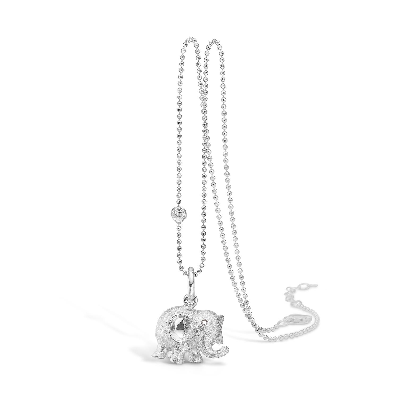 Image of   Blossom lille sølv elefant vedhæng med cz, 80 cm