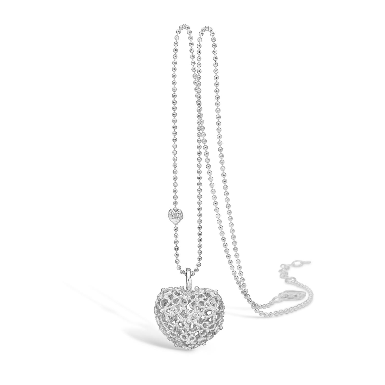 Image of   Blossom sølv halskæde med blondehjerte mat, 42+3 cm