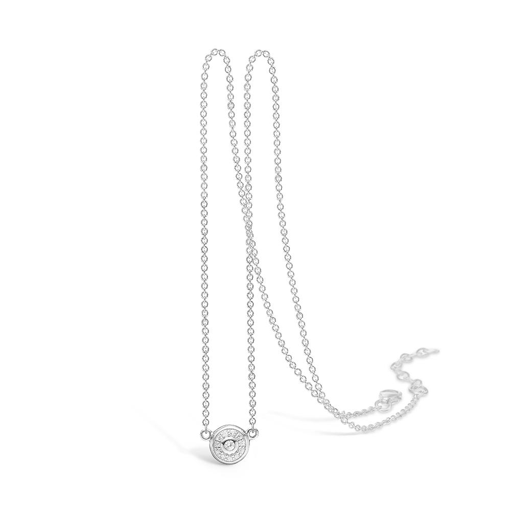 E-Signature sølv halskæde med rundt vedhæng rhod. med cz, 42+3cm