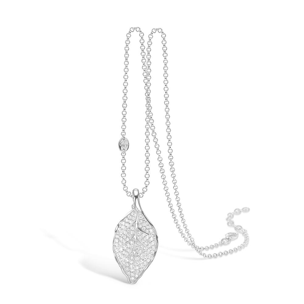Image of   E-Signature sølv halskæde med mellem blad rhod. hvide cz, 80cm