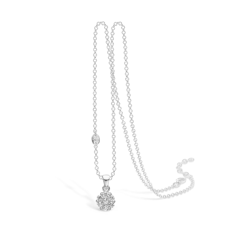 Image of   E-Signature sølv halskæde rhod. roset vedhæng med cz, 45 cm