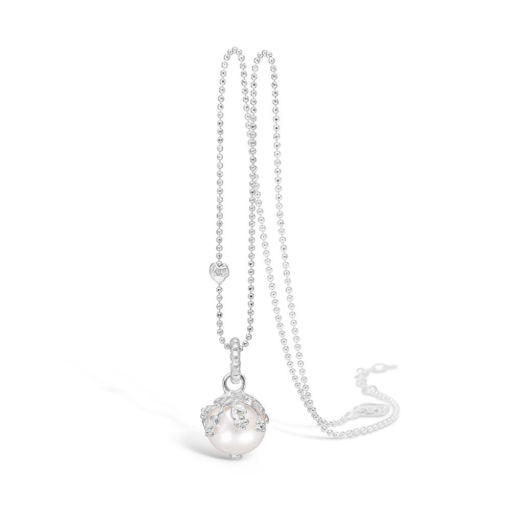 Image of   Blossom sølv perle vedhæng rhod. 42+3 cm