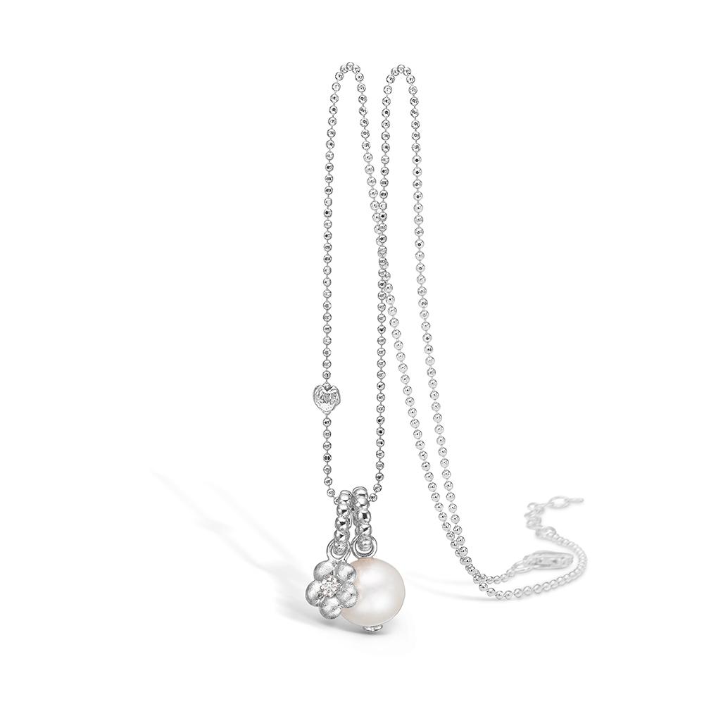 Image of   Blossom sølv halskæde med perle og blomster vedhæng rhod. 80 cm