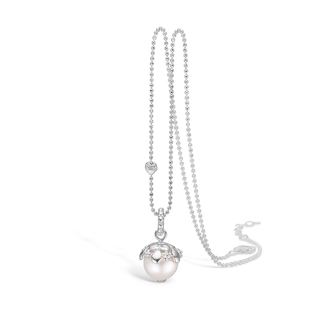 Image of   Blossom sølv halskæde med hvid perle rhod. 80 cm