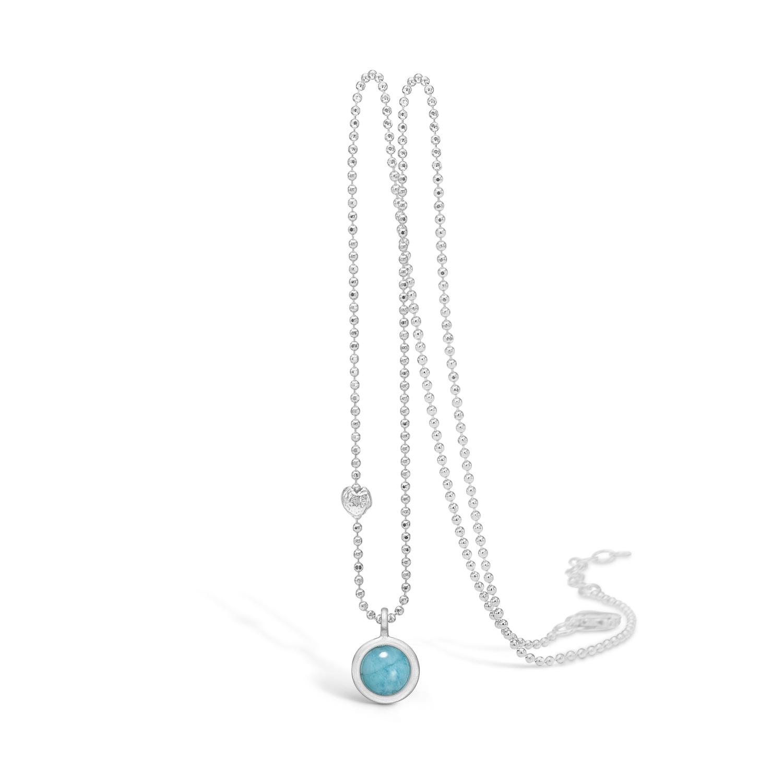 Image of   BLOSSOM sølv halskæde med lille blå amazonite vedhæng