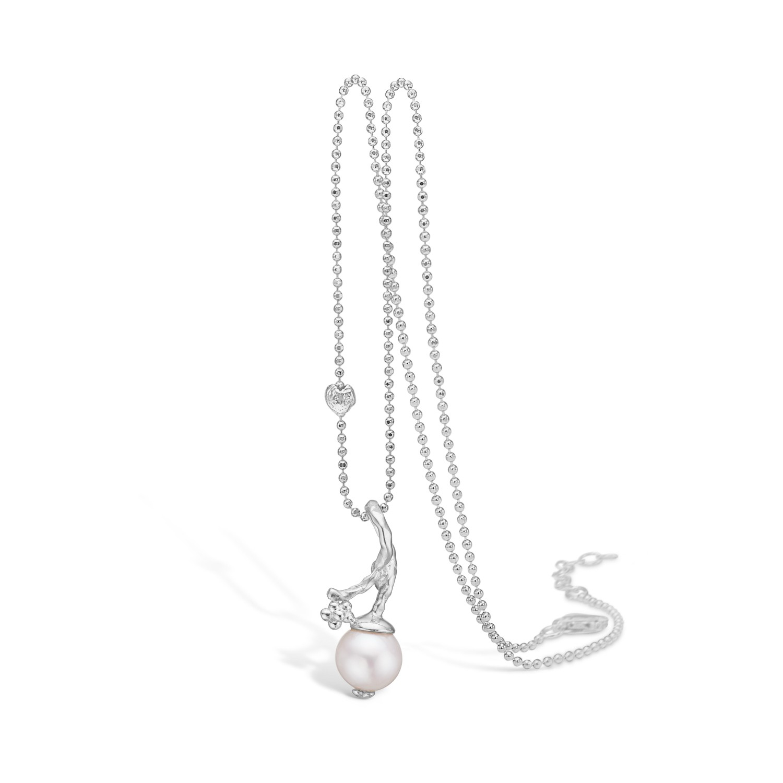 Image of   BLOSSOM halskæde i sølv med perle vedhæng