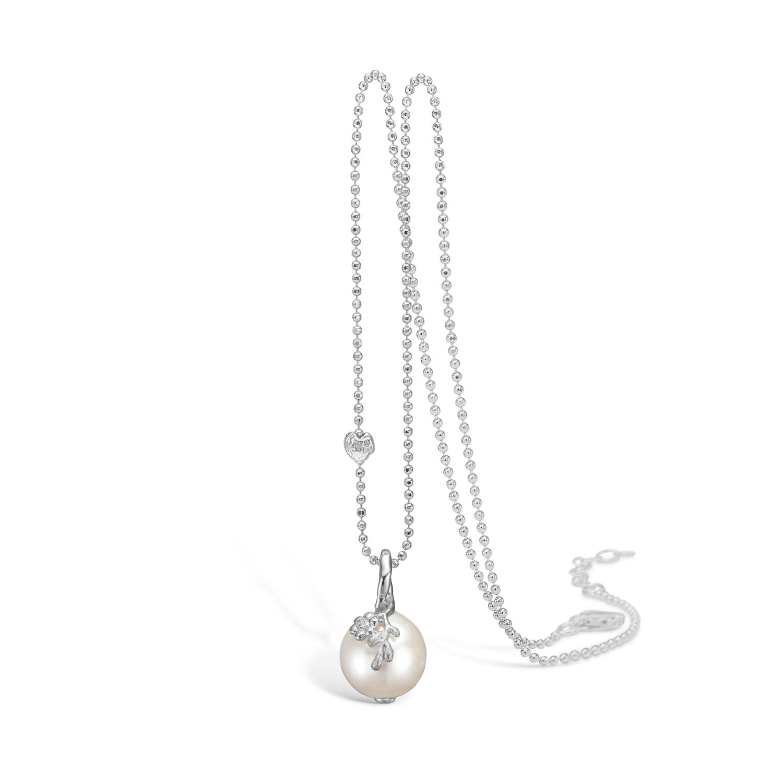 Image of   BLOSSOM halssmykke i sølv med perle