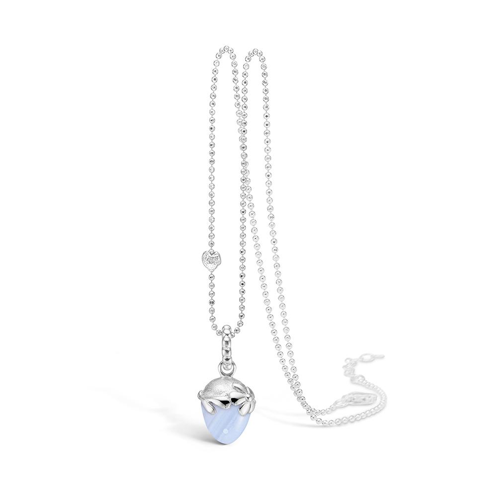 Blossom sølv halskæde rhod. blå lace agat, 80 cm thumbnail