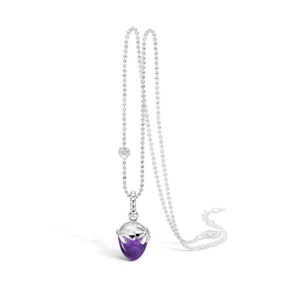 Blossom sølv halskæde rhod. lilla ametyst, 80 cm