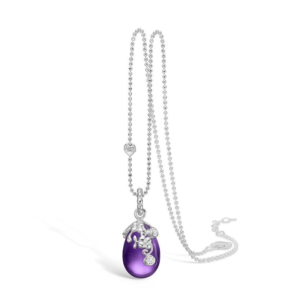 Blossom sølv halskæde rhod. lilla ametyst dråbe, 80 cm thumbnail