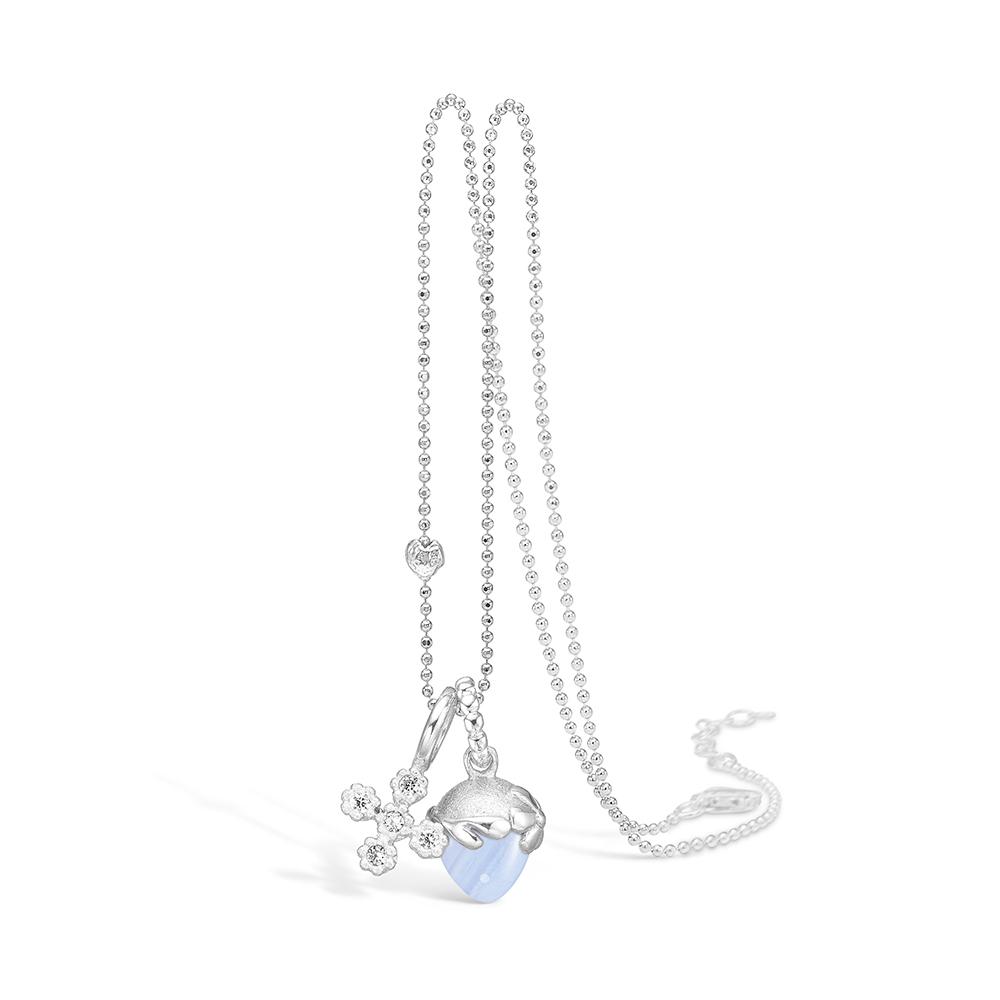 Blossom sølv halskæde rhod. blå lace agat og sølv kors, 80 cm