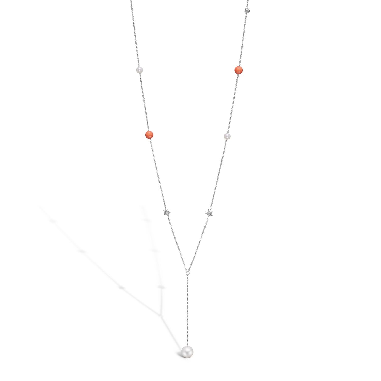 Image of   BLOSSOM lang halskæde i sølv med hjerter, stjerner, perler og koraler