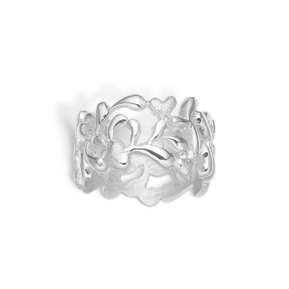 Image of   Blossom sølv hjerte mønster ring bred model rhod. mat/blank