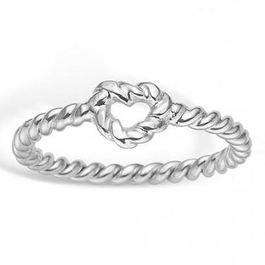 Image of   Blossom sølv ring rhod. hjerte snoet