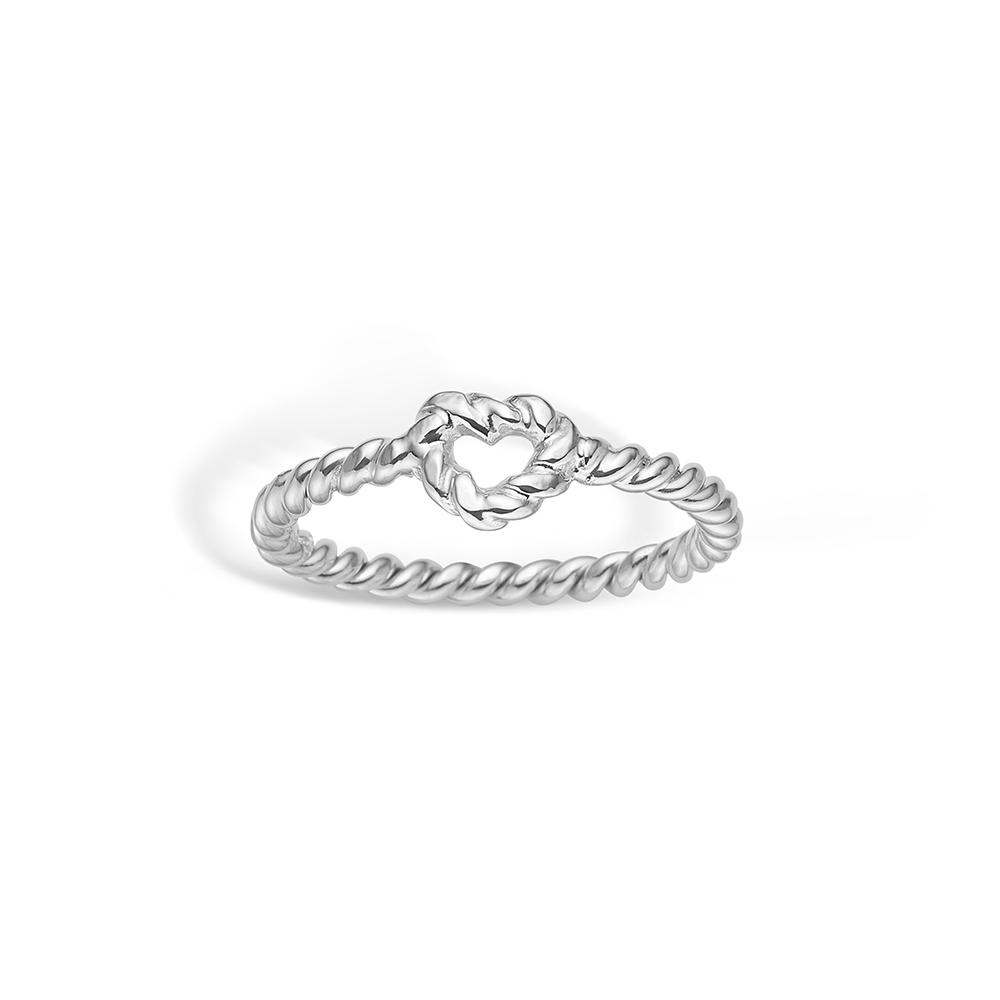 Image of   Blossom sølv ring snoet hjerte rhod.