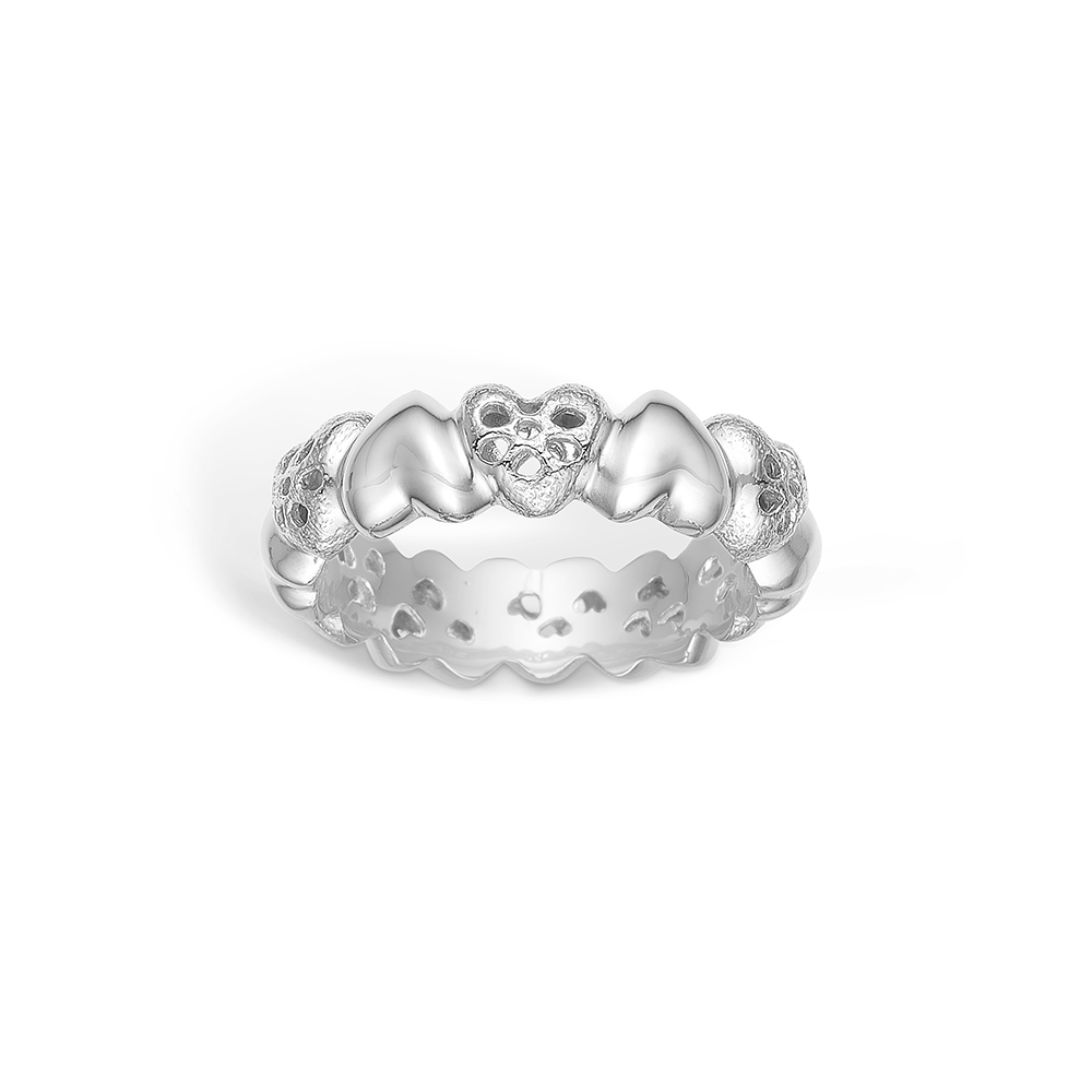 Image of   Blossom sølv hjerte ring rhod. mat/blank