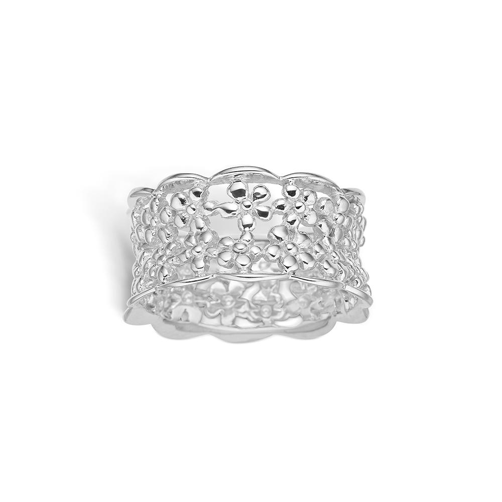 Image of   Blossom sølv blomster ring bred model rhod. blank