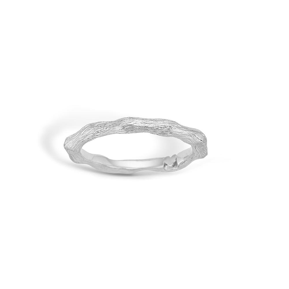 Image of   Blossom sølv mat børstet ring rhod.