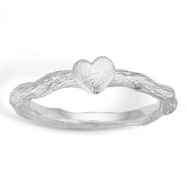 Image of   Blossom sølv ring rhod. mat hjerte