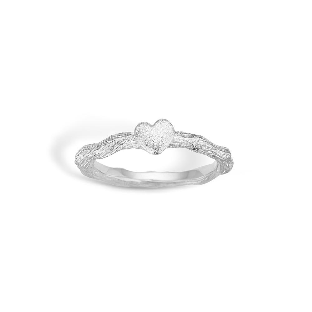 Image of   Blossom sølv mat børstet hjerte ring rhod.