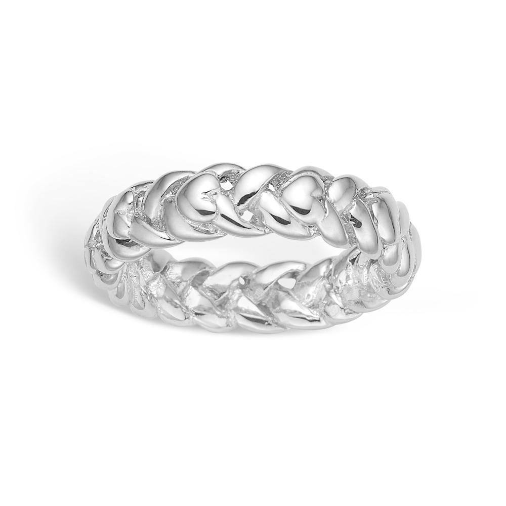 Image of   Blossom sølv ring med hjerter