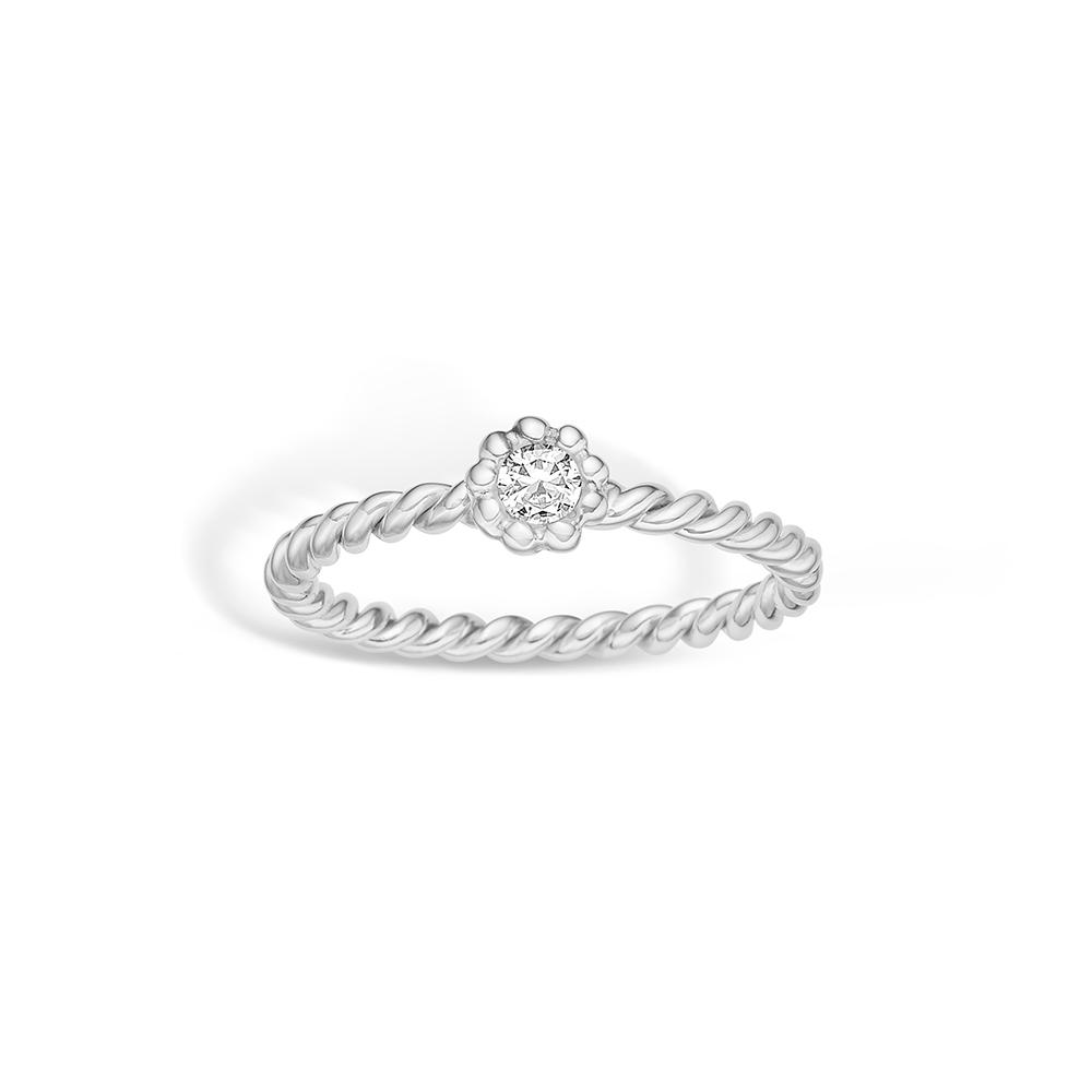 Image of   Blossom sølv snoet ring rhod. med cz