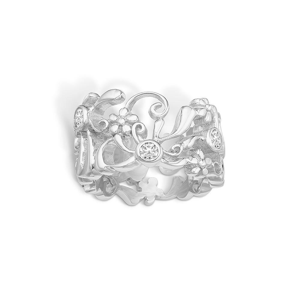 Image of   Blossom sølv blomster ring med cz, bred model rhod.