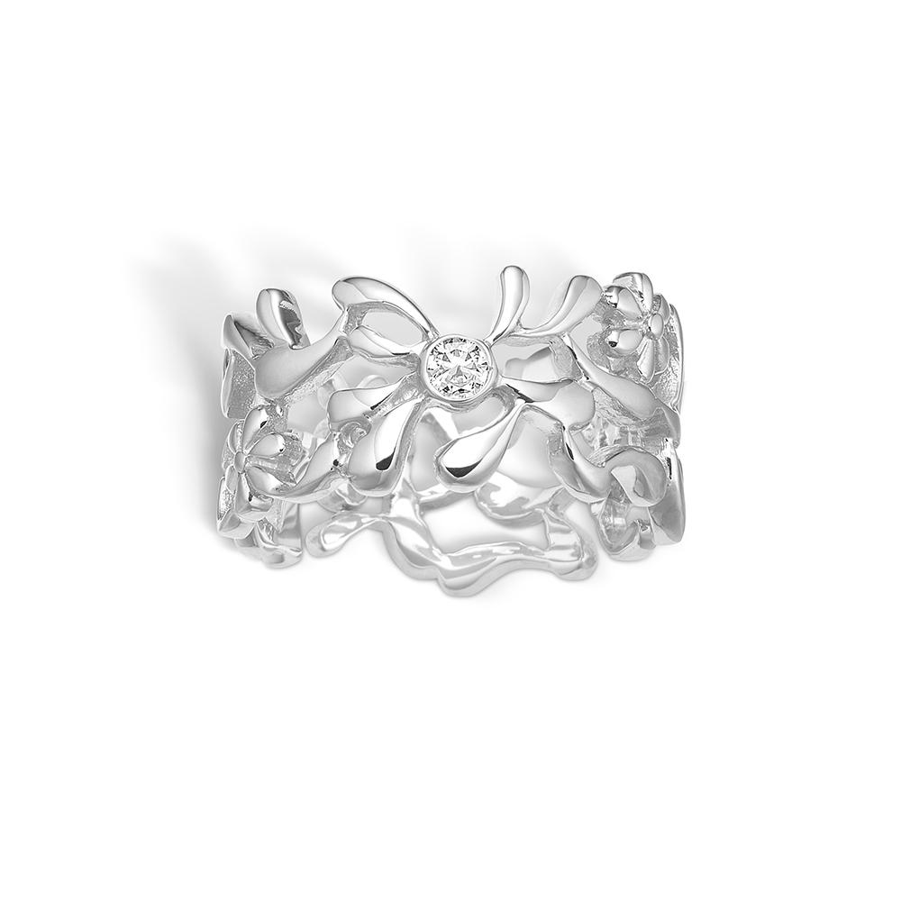 Image of   Blossom sølv bred ring med blomster og cz, rhod.