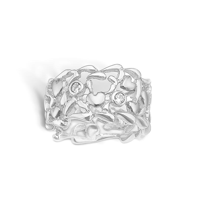 Image of   Blossom sølv bred ring med hjerter og cz, rhod.