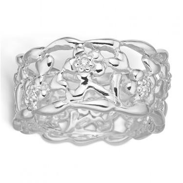Image of   Blossom sølv ring rhod. blank blomster CZ
