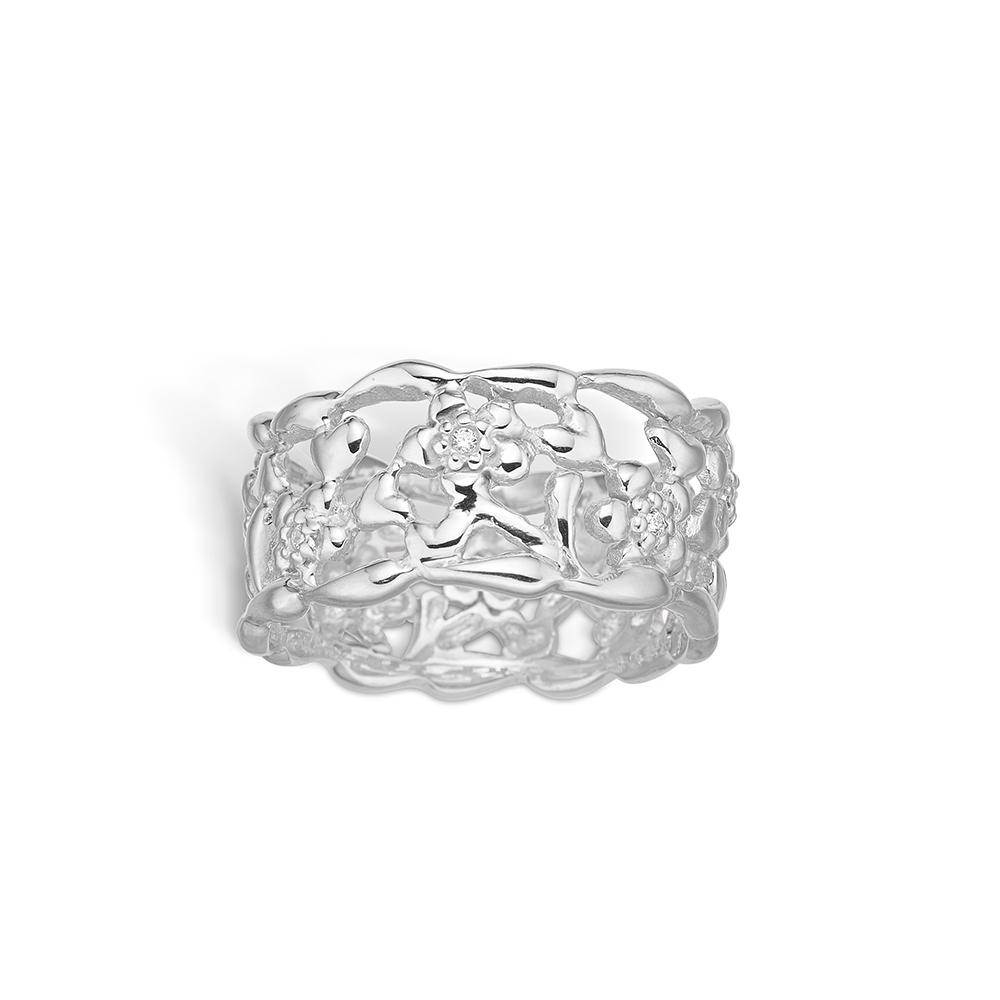 Image of   Blossom sølv ring med blomster og cz, bred model rhod.