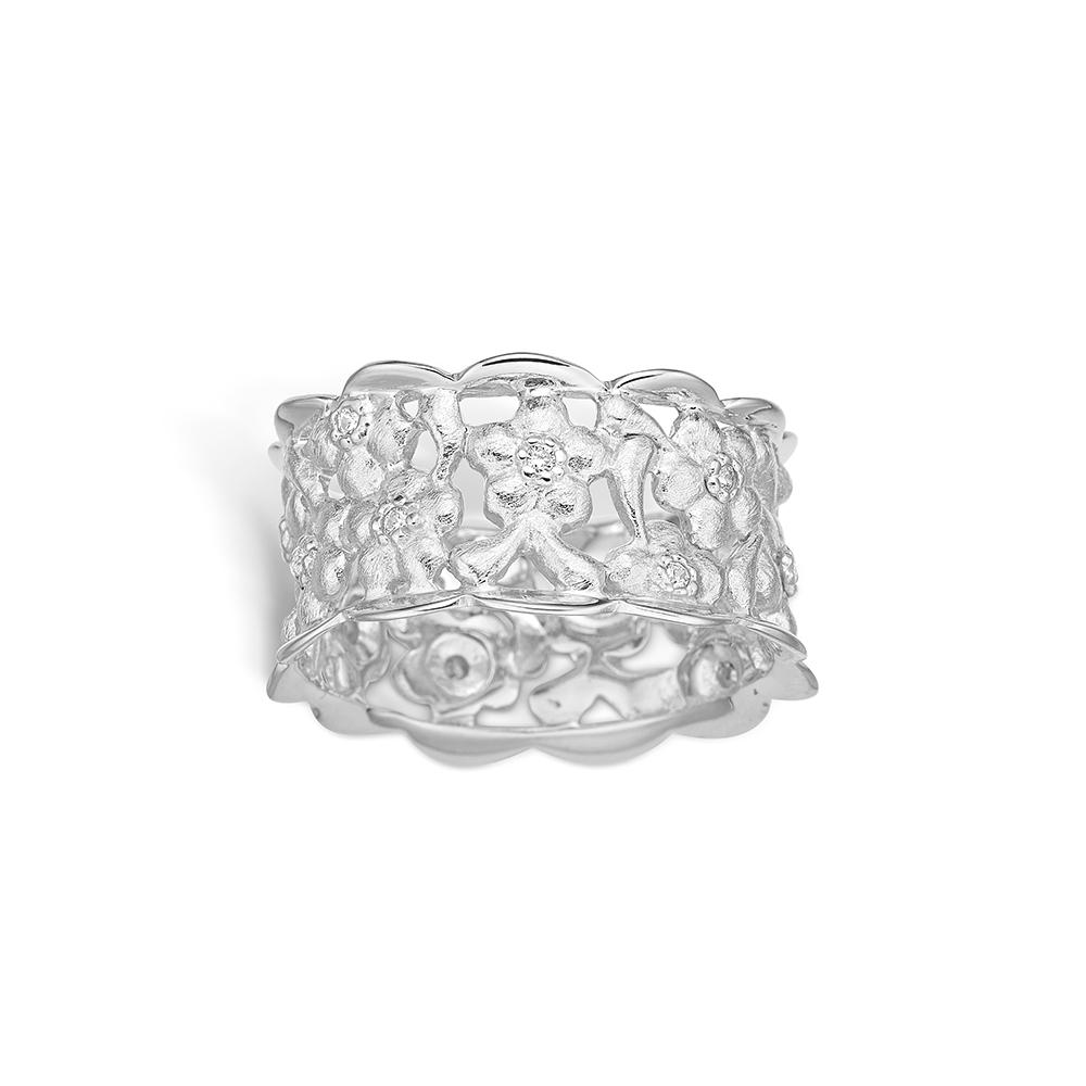 Image of   Blossom sølv ring med mat børstet blomster rhod. bred model, cz