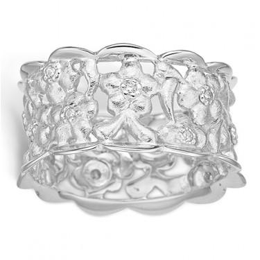 Image of   Blossom sølv ring rhod. bred blank mat blomster CZ