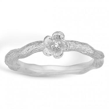 Image of   Blossom sølv ring rhod. mat blomst CZ