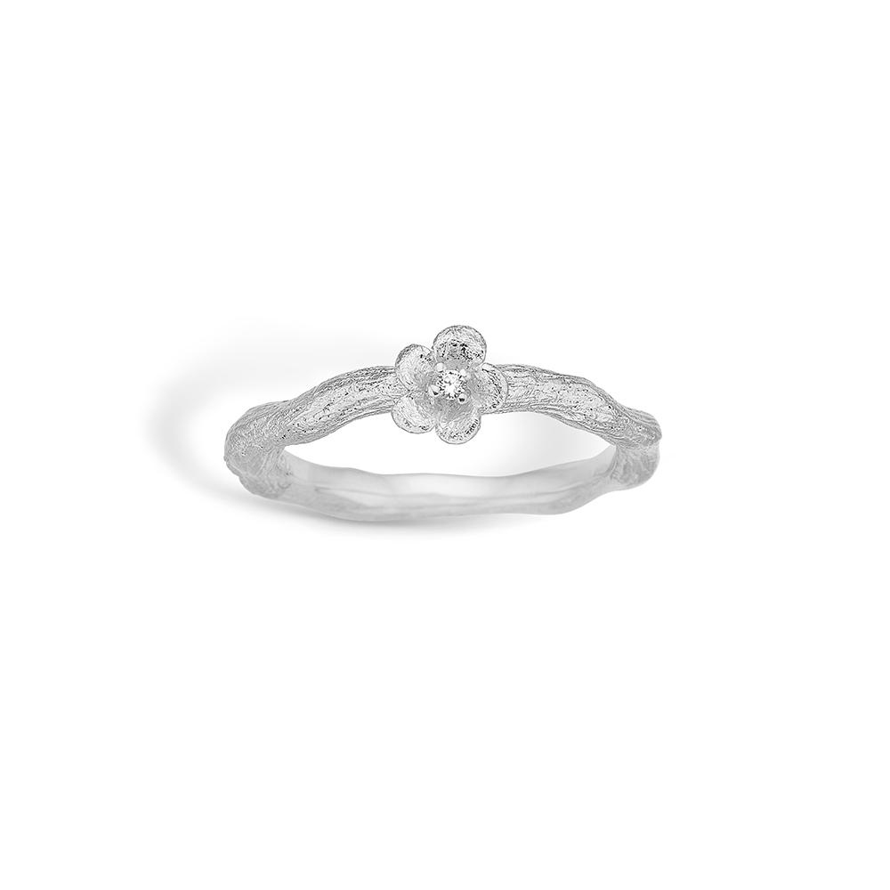 Image of   Blossom sølv mat børstet ring med blomst rhod. med cz