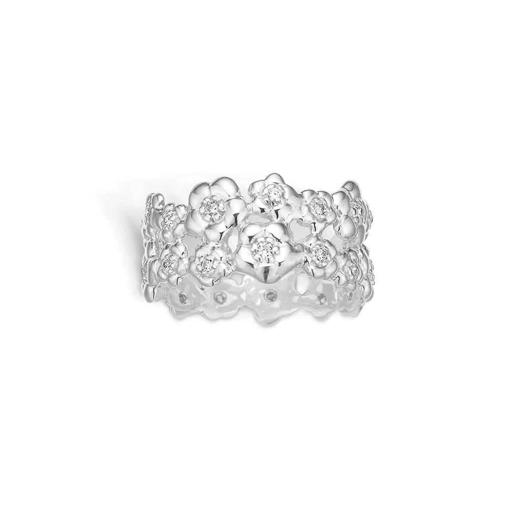 Blossom sølv ring rhod. blomster CZ