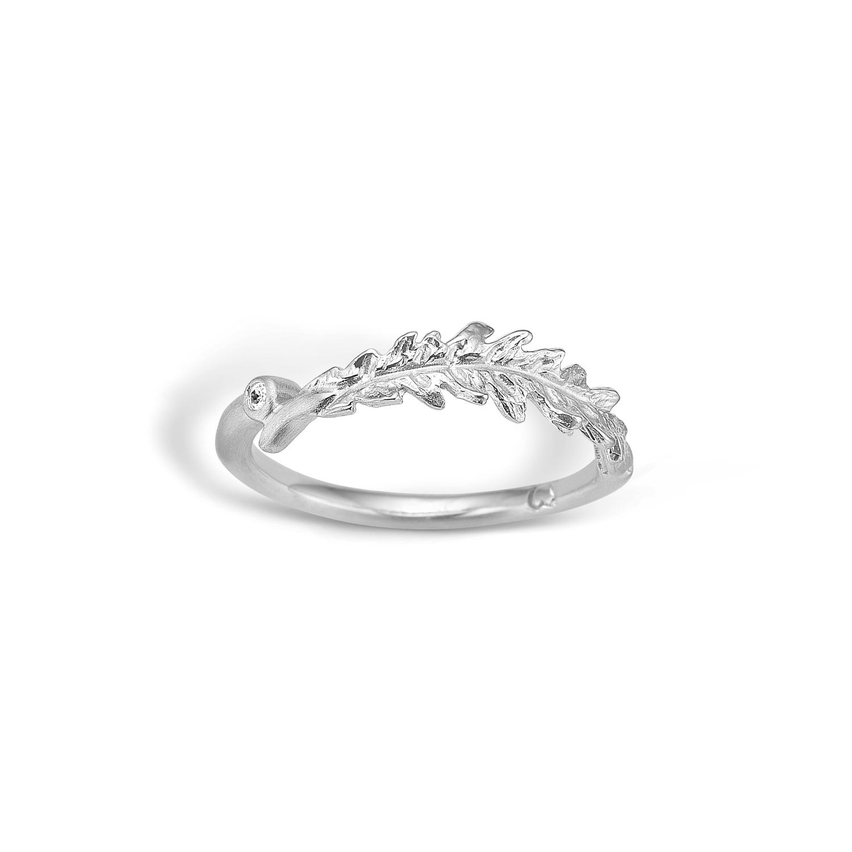 Blossom sølv blad ring