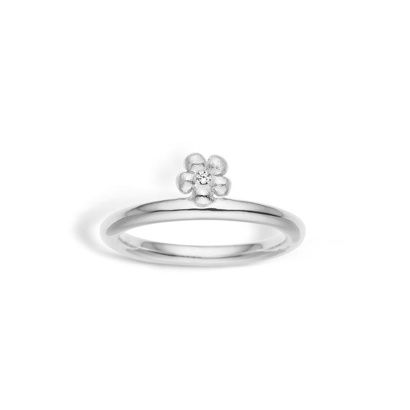 Image of   Blossom blank sølv ring med blomst og cubic zirkonia